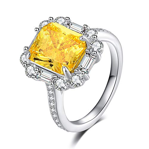 (Erllo 8x10mm Rectangle Cut 3 carats Wedding 925 Sterling Silver Brilliant Yellow Cubic Zirconia Engagement Halo Ring (6))