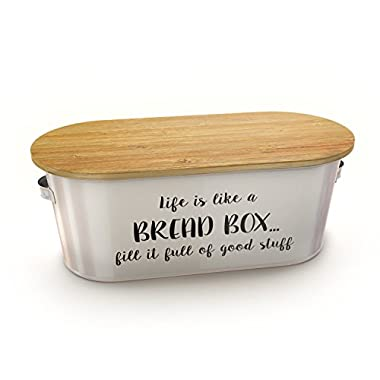 Bridge To Bohdi Vintage Bread Box with Bamboo Lid, 16.5-Inch-by-7-Inch-by-6-Inch