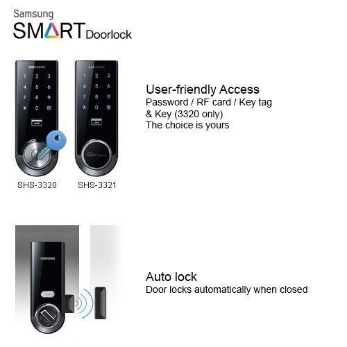 Samsung SHS-3321 Digital Door Lock, Black, Keyless, Electronic, Deadbolt