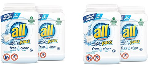 all Mighty Pacs Laundry Detergent, Free Clear for Sensitive Skin, 67 Count, 2 Tubs, 134 Total Loads (2 - Case)