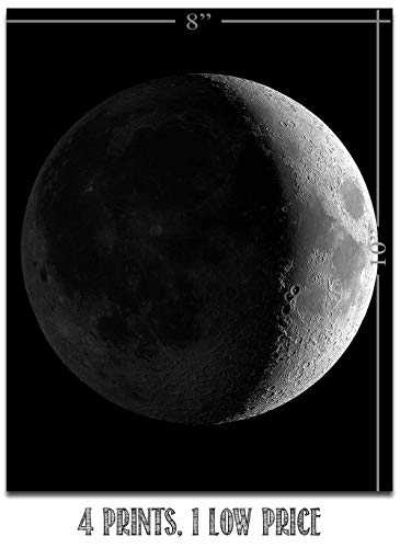 Moon Phases - Set of Four 8x10 Unframed Art Prints - Great Gift and Decor for Astronomers, Observatories and Home Under… 5