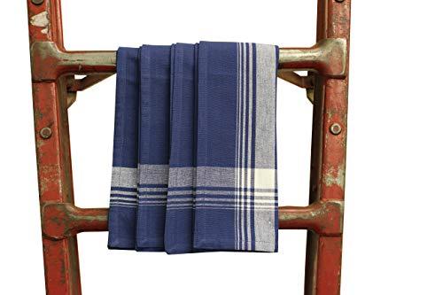 Fabric Textile Products, Inc. Navy Blue Plaid Cotton Napkins - Set of 4