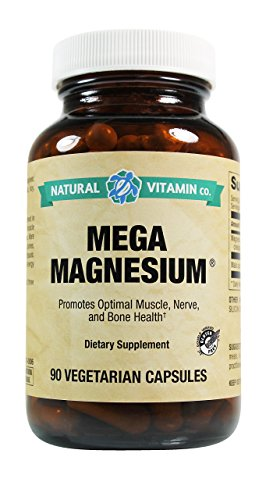 Natural Vitamin Co. Mega Magnesium from Citrate Chelate and Malate, 400mg, Gluten Free Vegetarian and Vegan, 90 Capsules (Vegetarian Vitamin Mega)