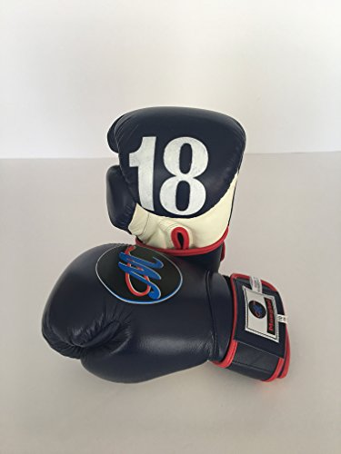 Mongkol Muaythai - Gloves Dark Blue/White trim red Velcro by Mongkol Muaythai