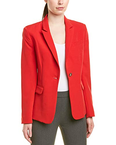 Tahari ASL Women's ONE Button Flap Pocket Jacket, Scarlet Red, 8 (Blazer Leather One Button)