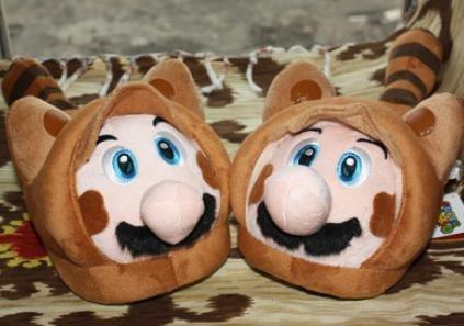 Super Mario Tanooki Raccoon Plush Slipper - one pair fit up to 9