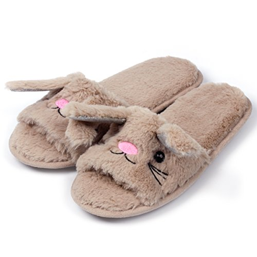 Womens Open Toe Slippers | Cute Bunny Unicorn Animal Slipper | Soft Fleece Memory Foam Clog | Anti-Slip Sole Indoor Outdoor Shoes | Flip Flop Spa Slippers (9-10, BrownBunny) by Caramella Bubble (Image #2)