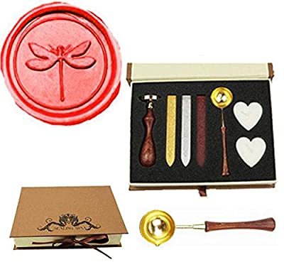 MNYR Vintage Dragonfly Sealing Wax Seal Stamp Wood Handle Melting Spoon Wax Stick Candle Gift Book Box kit Wedding Invitation Embellishment Holiday Card Christmas Gift Wrap Package Seal Stamp Set