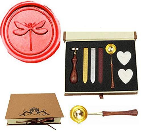 MNYR - Juego de sellos de cera con diseñ o de libé lula, estilo vintage, con mango de madera, para decoració n de bodas, vacaciones, Navidad, regalo para decoración de bodas kmh10-134