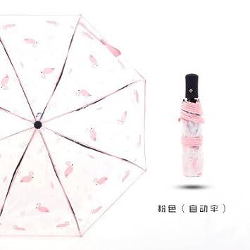 Xue-zhenghao Flamingo Transparente Paraguas Plegable,Polvo Automático