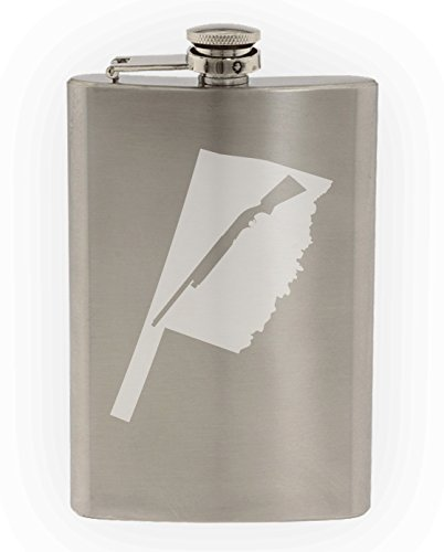 State of Oklahoma with Shotgun Cutout Etched 8oz Stainless Steel Flask]()