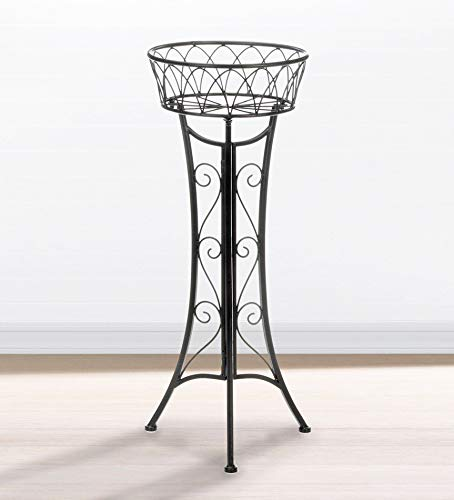 Wrought Iron Plant Stand, Indoor Outdoor Vintage Style Decorative Single Tall Planter Antique Black Round Metal Flower Pot Holder Patio Garden Plant Stands Plants Lover Gifts Men - Plant Iron Wrought Outdoor Stands