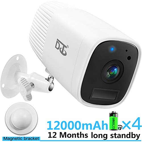 Wireless Security Camera HD 1080P Outdoor/Indoor Surveillance Cameras -Two Way Audio Talk WiFi Camera, PIR Motion Sensor IR Night Vision Detection, Build in Rechargeable Batteries SD Card Slot White