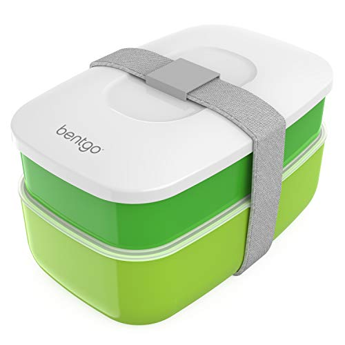 (Bentgo Classic (Green) - All-in-One Stackable Lunch Box Solution - Sleek and Modern Bento Box Design Includes 2 Stackable Containers, Built-in Plastic Silverware, and Sealing Strap)