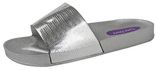 Lora Metallic Dora Sliders Silver Womens XYBfaqwB