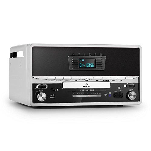 Auna-RTT-1922-Stereo-Giradischi-Retr-MP3-CD-USB-AUX-Argento