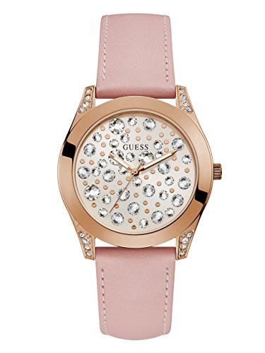 GUESS Women's Stainless Steel Clear Stone Dial Silicone Watch, Color: Pink (Model: (Dial Clear Stones)