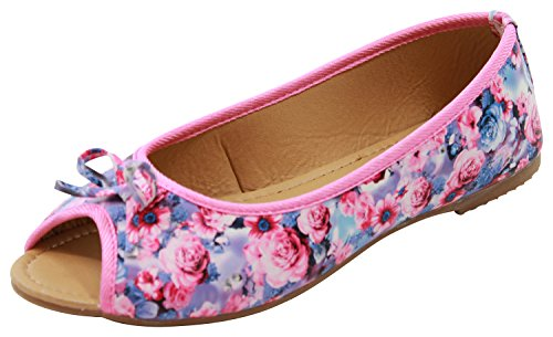 New Womens Flat Peep Toe Pumps Slip On Bow Plimsolls Ballerinas Casual Shoes Pink pdYlKUQH