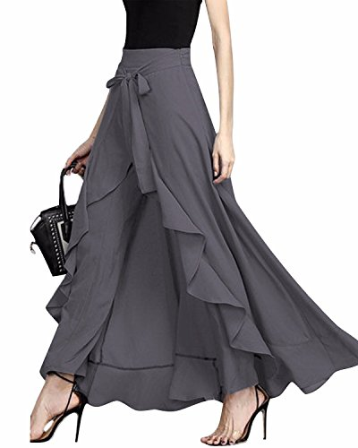 (GIKING Women Ruffle Pants Full Length Split High Waist Retro Maxi Long Skirt Gray L)
