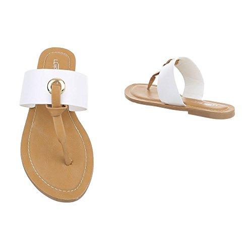 Schuhcity24 Damen Schuhe Sandalen Zehentrenner Weiß