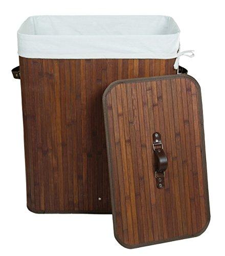 Kronenburg Bambus Wäschekorb Wäschesammler mit Deckel, Fassungsvermögen 100 L - 62,5 x 52 x 32 cm, Dunkelbraun