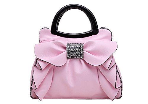 Tianrui Crown - Bolso de asas de poliuretano para mujer Rosa rosa talla única