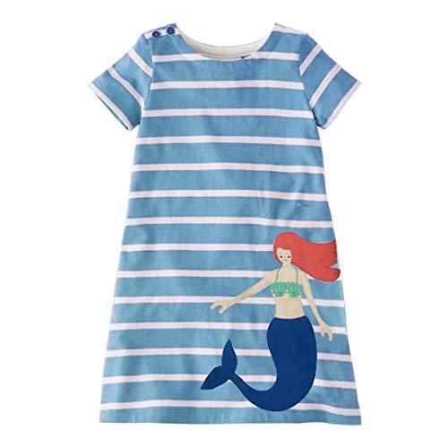AYOMIS Girl's Cotton Cartoon Short Sleeve Casual Unicorn Tutu Tulle Dresses(Mermaid,5T)