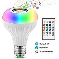 Bombilla Bluetooth de música, lInalámbrica Bluetooth 4.0 Altavoz E27 Foco, Lámpara de Luz Cambiante Color RGBW con Control Remoto para Escenario, Hogar, Dormitorio, Fiesta