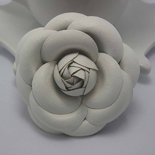 Leather Corsage - 3 high-grade leather corsage brooch fabric camellia flowers about 7 large variety of colors (chain love to spend edge)