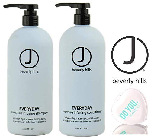 J Beverly Hills EVERYDAY Moisture Infusing SHAMPOO & CONDITIONER Duo Set (with Sleek Compact Mirror) (32 oz/LITER DUO KIT) ()