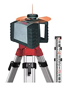 Robotoolz RT-5250-2XPKT High-Powered, Auto Leveling Level and Manual Plumb Rotational Laser with New 123 Tripod and 9 Grade Rod Kit