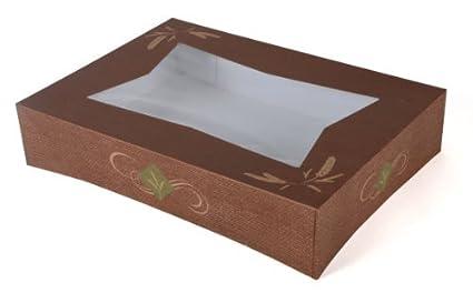 24146 cartón Hearthstone Panadería Barrio Cake Box Top con ventana, Clay Coated, adapta corrugado