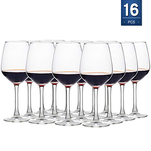 Red Wine Glasses Set of 16, 12 Ounce Wine Glass, Stemware, Lead Free, Clear