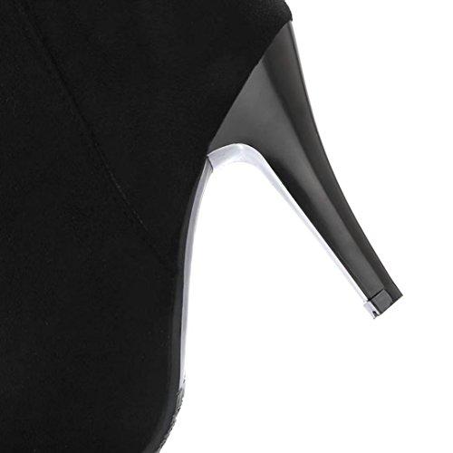 AIYOUMEI Damen Nubukleder Stiletto Spitz Zehen Stiefeletten mit Strasssteine und Reißverschluss Herbst Winter Stiefel Schuhe Schwarz
