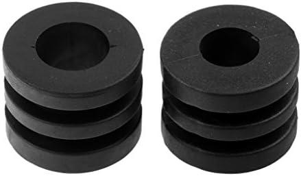 Sharplace 16 Pcs de Paragolpes de Varilla Topes de Goma Ranurados de Color Negro Accesorio Deportivo - 16 mm para ...