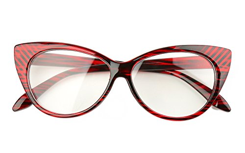 Beison Vintage Cateye Optical Eyeglasses Frame Plain Glasses Clear Lens (Wine red 54mm)