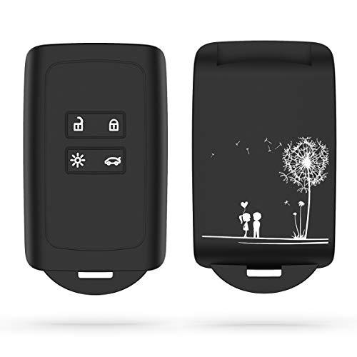 🥇 kwmobile Funda de Silicona Compatible con Renault Llave de Coche Smart Key de 4 Botones
