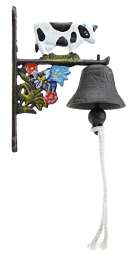 Import Wholesales Cast Iron Dinner Bell Holstein Dairy Cow Colorful Doorbell