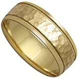 14K Yellow Gold Center Stripe Mens Hammered Finish Comfort Fit Wedding Band (8mm)