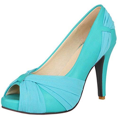 col Stiletto Peep Tacco Scarpe Toe Piattaforma Blue Scarpe Donna da COOLCEPT 57X6pxBwqw