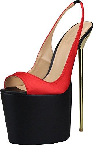 Zitto Sexy Piattaforma 8 Sandali Delle Weding Pompe Pu Nightclub Partito Col Scarpe In Donne A Inox Cena Sposa Acciaio Croce 7in Us9 Vestire Tacco 48 Overside 19 rFawxq8nrI