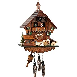 Mechanical Cuckoo Clock with Music and Dancing Couple as Filigree Black Forest House, 14 Inch
