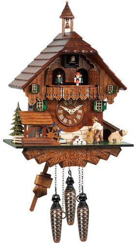 Mechanical Cuckoo Clock with Music and Dancing Couple as Filigree Black Forest House, 14 Inch (Filigree Clock)