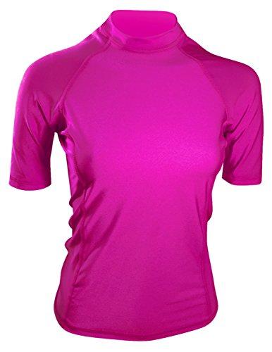 Swim Shirt For Women - USA Made Swim & Workout Shirt. UV Sun Protection For Everyday Workouts & Outdoor Fun. (Fuchsia, Small)