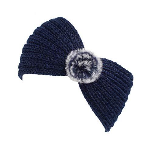 MOPOLIS Fashion Women Ladiess Headband Knit Hairband Ball Winter Ear Warmer Head Wrap | Colors - navy blue