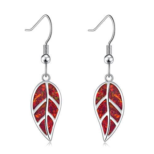 CiNily Opal Leaf Dangle Earrings-Red Fire Opal White Gold Plated Drop Earrings for Women Jewelry Gemstone Dangle Earrings 1 5/8