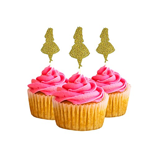 Alice inspired Party Wedding Birthday Cupcake Topper cardstock Color Gold 12 pc Pack Decoration