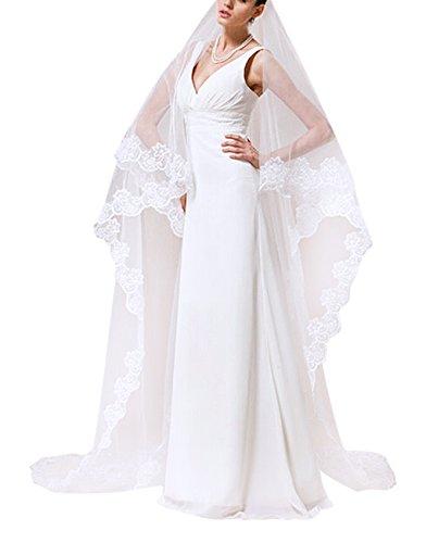 Beautiful One Tier (Women Fashion Elegant 1 Tier Lace Applique Edge Long White Wedding Veil Bridal Cathedral Length Veils)