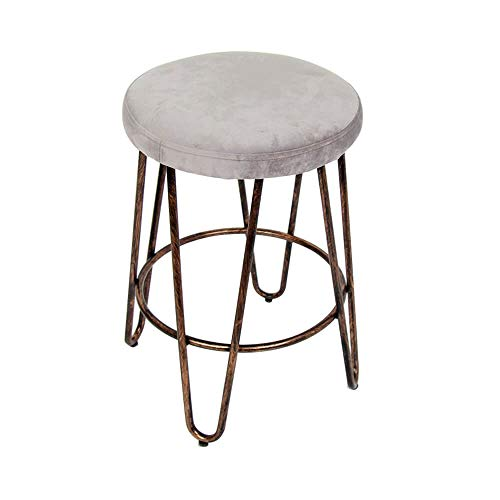 CANDIKO Gray & Bronze Round Makeup Vanity Chair Velvet Upholstered Metal Stool Bedroom Iron Room Bench Bathroom Ottoman with Footrest Ring - Small
