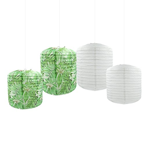 NICROLANDEE Set of 4 Tropical Leaf Paper Lantern Green Leaf White Hanging Paper Lantern for Luau Wedding Sweet Sixteen Summer Hawaii Party Decoration